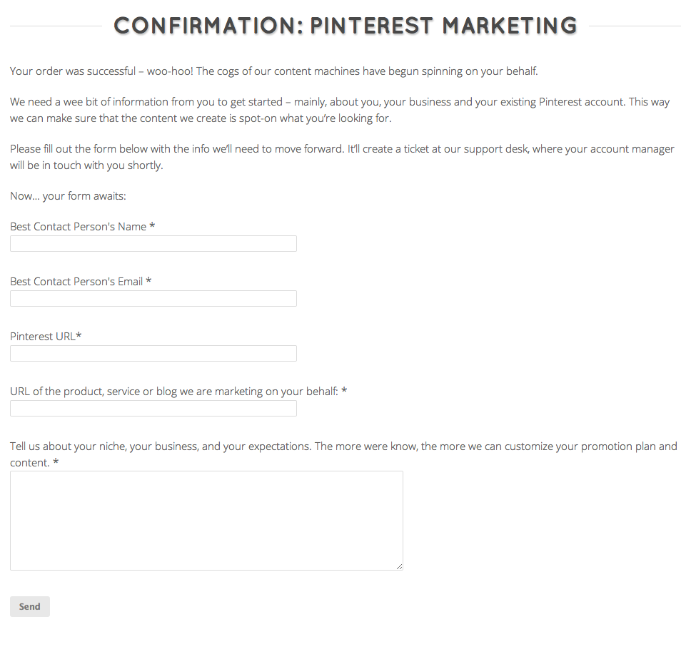 Confirmation Pinterest Marketing